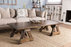 Rustic trestle coffee table trestle coffee table furniture home Coffee Table Furniture, Living Room Decor Furniture, Solid Wood Furniture, Cheap Furniture, Kitchen Furniture, Coffee Tables For Sale, Solid Wood Dining Table, Home Decor Styles, Walnut Stain