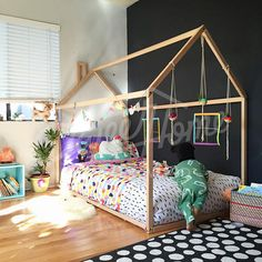 Wooden house bed frame is an amazing floor bed for children to sleep and play. Wood house bed or tent bed will make transitioning from a cot to a toddler bed smoothly. Wood bed frame is designed following Montessori furniture principles of independence – building, it saves you a lot