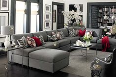Bassett Furniture » gray living room - white walls, dark trim. dark floors... and awesome floor to ceiling library.