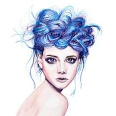 Blue Hair Girl Watercolor Print Illustration by AlbrightArtStudio