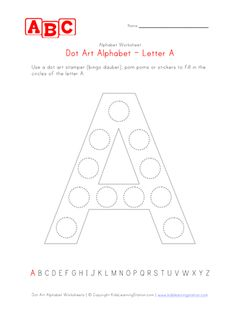 Dot art alphabet worksheets for kids. Also known by some as bingo daubers, we have a whole set of alphabet worksheets setup to be used with dot art markers (aka bingo daubers). Alphabet Worksheets, Worksheets For Kids, Activities For Kids, Preschool Ideas, Dot Letters, Letter V, Do A Dot, Preschool Letters, Road Trip With Kids