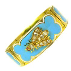 Victorian, Gold, French Enamel, and Diamond Bracelet. 1900. I would wear this often...how much fun!