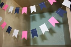 Navy Blue Pink and White Paper Garland by SimplyScissors on Etsy, $10.00 nautical baby shower nautical wedding nautical girl