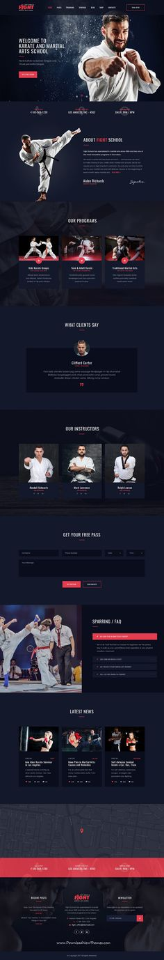 Fight is clean and modern design #PSD template for #Karate and #martial arts school website with 18 layered PSD pages to live preview & download click on Visit