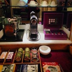 One of the best mini-bar and coffee set ups I have seen at a hotel.