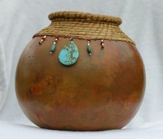 Gourd art w pine needles beads