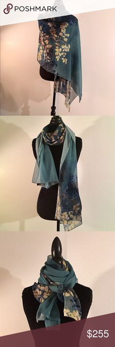 St. John 💯% Silk Scarf / Shawl / Wrap Endless Possibilities With This Amazing Floral Silk Scarf. Pre- Loved but worn only a couple of times. I'm downsizing & now can go to someone that will get a lot of use for this beautiful accessory 💕 St. John Accessories Scarves & Wraps