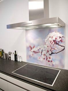 Cherry Blossom Printed Glass Splashback from DIYSplashbacks.co.uk
