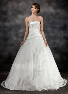Wedding Dresses - $205.99 - Ball-Gown Sweetheart Sweep Train Tulle Charmeuse Wedding Dress With Ruffle Lace Beadwork (002017430) http://jjshouse.com/Ball-Gown-Sweetheart-Sweep-Train-Tulle-Charmeuse-Wedding-Dress-With-Ruffle-Lace-Beadwork-002017430-g17430?ver=1