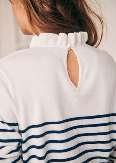Raphael Jumper Sailor Striped Ruffled Neck Collar Blue and White Sezane Paris Button Back