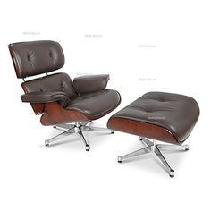 ArtisDecor Plywood Lounge Chair And Ottoman   Genuine Leather (Brown  Leather U0026 Walnut Plywood)