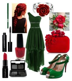 """Poison Ivy Prom"" by jinx13a ❤ liked on Polyvore featuring Bling Jewelry, Christian Louboutin, Jimmy Choo, OPI, Smashbox, NARS Cosmetics, jane and Bobbi Brown Cosmetics"
