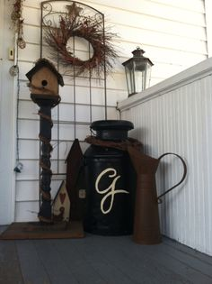Old rusty milk can brought back to life
