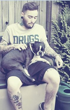this is making my heart melt. tattooed boys + boston terriers.....yummyness ness