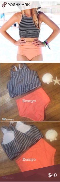 09a51a15dad6f1 High waisted striped bikini New striped high waist crop top racerback  bikini. Top can fit