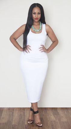 White Body-Conscious Midi Skirt - Plus Size Fashion | Curvy Fall ...