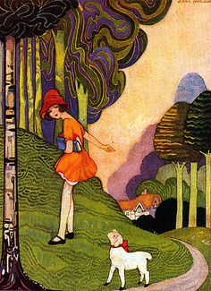 Art Deco illustration by Jennie Harbour (1893-1959) 'Mary Had a Little Lamb'