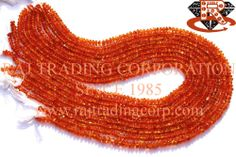 Carnelian Smooth Roundel (Quality A) Shape: Roundel Smooth Length: 36 cm Weight Approx: 7 to 9 Grms. Size Approx: 3.5 to 4.5 mm Price $5.40 Each Strand