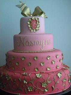 bolo 15 anos rosa e dourado pasta americana