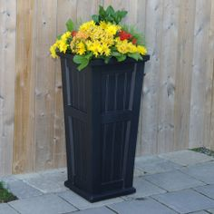Mayne Cape Cod tall patio planter in black! Made in the USA! www.gomayne.com