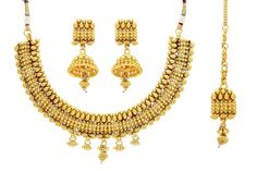 Pearlscart  Stunning Golden Bridal Necklace Set #necklaceset #ethnicnecklace #fashionjewellery