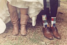 Rustic Chic Wedding - Malibu, CA - Cowboy Boots with Wedding Dress