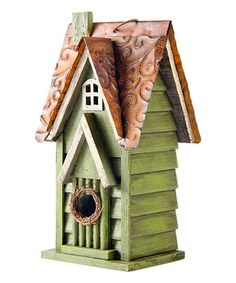 Distressed Wooden Gabled Birdhouse