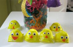 Simple egg carton chicks - painting craft