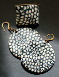 polymer clay earrings and ring