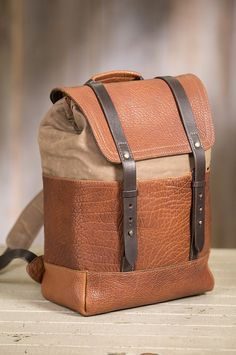 22a90933ac16 Coronado Redwood Canvas and Bison Leather Backpack with Concealed Carry  Pocket
