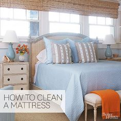 Remove stains and eliminate dust and dust mites with these easy ways to clean a mattress. We're teaching you not only how to clean a mattress but also about how often you should be cleaning your bed. Doing so can even help you get a better night's sleep. Deep Cleaning Tips, House Cleaning Tips, Natural Cleaning Products, Cleaning Solutions, Spring Cleaning, Cleaning Hacks, Cleaning Recipes, Weekly Cleaning, Casa Clean