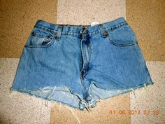 DIY high waisted shorts project #2 out of mom jeans from goodwill! #recycledfashion