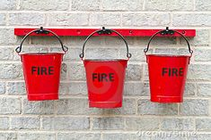 Three Fire Buckets. Can be filled with sand or water.