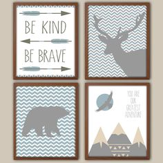 Baby Boy Nursery Art  Slate Blue And Gray Nursery by iNKYSQUIDKIDS, $30.00