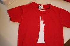 Statue of Liberty 4th of July t-shirt. Made with freezer paper.