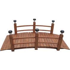 Decorative Wood Bridge with Lighting Essentials Solar Lights — 5ft. Garden Edger, Garden Pond, Garden Bridge, Garden In The Woods, House In The Woods, Home And Garden, Wooded Backyard Landscape, Garden Arch Trellis, Wood Arch