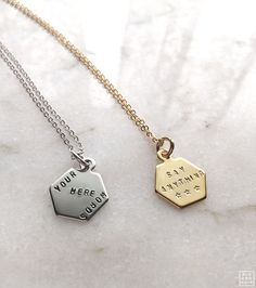 BLK AND NOIR™ - Hexagon Charm Necklace, $35.00…