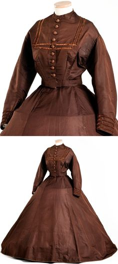 Brown ribbed silk two-piece day dress, c. 1866. The dress features the V-bodice, jewel neckline and very full skirt popular during the 1860s. Charleston Museum via The Curated Object.