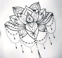 Cool Dotwork Lotus Tattoo Design 59 Tattoo Designs that Mean New Beginning Mandala Tattoo Design, Lotus Mandala Tattoo, Flower Tattoo Designs, Tattoo Flowers, Drawing Flowers, Lotus Drawing, Mandala Tattoo Sleeve Women, Mandala Tattoos For Women, Lotus Henna
