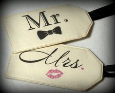 Personalize your luggage bags and travel in style! You can now create your own unique MR & MRS fabric luggage tags. Just choose your favorite Lip