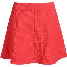 Mauro Grifoni Mini Skirt ($115) ❤ liked on Polyvore featuring skirts, mini skirts, bottoms, faldas, saias, red, zipper skirt, short red skirt, red skirt and mini skirt