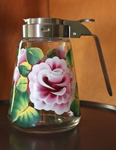 Hand painted glass honey syrup sugar dispenser by LjoyceDesigns