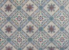 23.5m2 antique French ceramic encaustic floor with triple borders - The Antique Floor Company