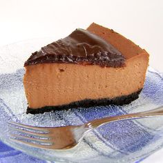 One Perfect Bite: Triple-Chocolate Cheese Cake. I have made this many times and it is delicious, people beg me for it. Best Cheesecake, Cheesecake Recipes, Dessert Recipes, Triple Chocolate Cheesecake, Cocoa, Tummy Yummy, Savarin, Mini Cheesecakes, Delicious Desserts
