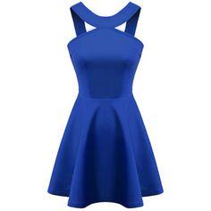 Blue Strap Backless Flouncing Dress