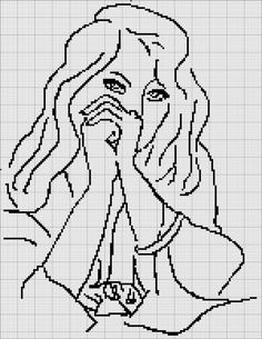 0 point de croix femme pensive - cross stitch girl thinking