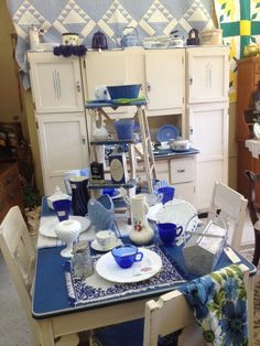 Hoosier cabinet and table, step stool