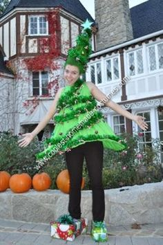 Homemade Christmas Tree Costume: About two months ago I was hanging out with my friends at lunch and I jokingly put o water bottle on the top of my head and put all of my hair around it