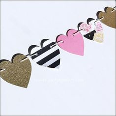 Decorate bridal and baby showers, birthdays or bachelorette parties with our hearts & peonies party banner! Gold glitter, black and white stripes with pink