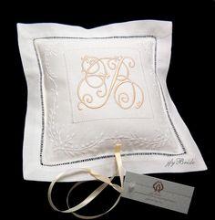 Ring PillowMonogrammed Pillow Irish Linen Ring Bearer by jfyBride, $50.00